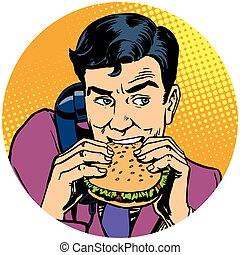 食べること, 電話, バーガー, ポンとはじけなさい, 話し, ビジネスマン, 芸術, ava