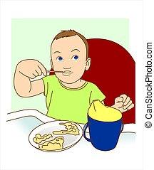 食べる, 彼自身, 小さい, spoon., 子供