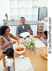 食事をする, アフロ - american, 一緒に, 家族