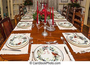 食事をする, セット, 公式に, クリスマス, テーブル