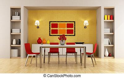 食事をする, 現代部屋