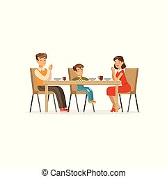 食事。, カトリック教, 女, 家族, 平ら, 特徴, 人々。, モデル, boy., ベクトル, 息子, 食事をする, 人, デザイン, 父, テーブル。, 母, 祈ること, 宗教, 漫画, 前に