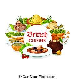 食事, ベクトル, フレーム, 英国, 料理, 皿, ラウンド