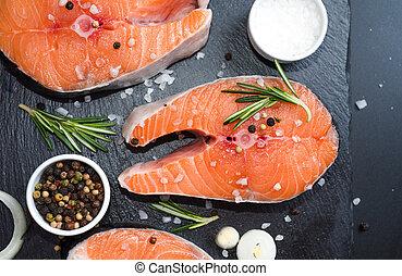 食事, 概念, ローズマリー, スパイス, ステーキ, 鮭, 背景, 石, 不飽和, オメガ, 未加工, 3, 暗い, 脂, 玉ねぎ