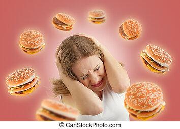 食事, concept., 怖がらせられた, 女の子, 中に, ∥, ストレス, そして, 飛行, のまわり, ∥, バーガー, 上に, a, 赤い背景