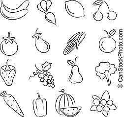食品。, ベクトル, illustration.