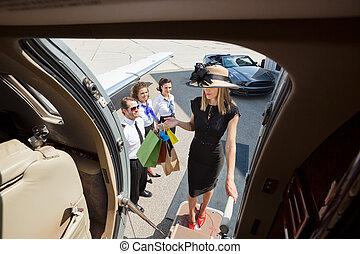 食宿, 袋子, 妇女购物, 喷射, 私人, 富有