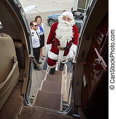 食宿, santa, 私人的喷气机, 肖像