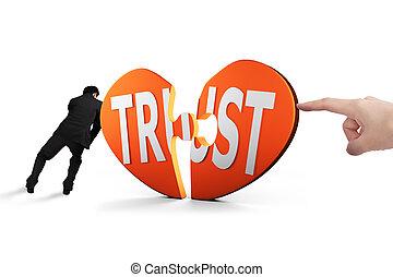 食指, 以及, 人, 推, 心, 難題 片斷, 由于, 信任, 一起
