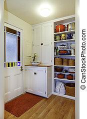 食料貯蔵室, 光景, ∥で∥, 貯蔵, 棚, 中に, 小さい, hallway.