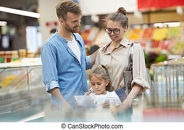 食料雑貨 ショッピング, スーパーマーケット, 家族, 幸せ