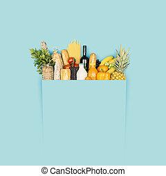 食料雑貨, フルである, 買い物, スペース, 袋, コピー