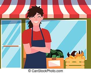 食料雑貨, 女, 農場, 売り手, プロダクト, ファサド