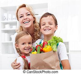 食料雑貨, 家族, 幸せ