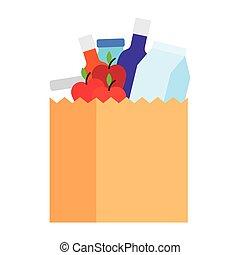 食料雑貨, 市場, ペーパー, 食物, 袋