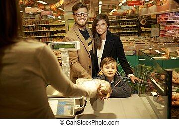 食料雑貨, 購入, 店, 家族, bread