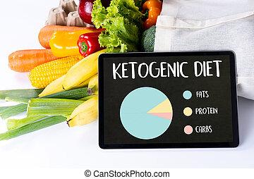 食料雑貨, 食事, 野菜, ketogenic, 低い, 有機体である, 健康, carbs