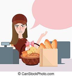 食料雑貨, 食物, カウンター, キャッシャー, スーパーマーケット, 女の子, 小売り店, bread