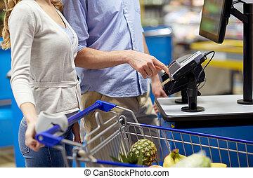 食料雑貨, 食物, self-checkout, 恋人, 購入