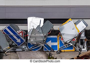 食料雑貨, carts., サイン, infrastructure., 多数, 道