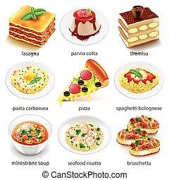 食物イタリア人, セット, ベクトル, アイコン
