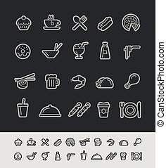 &, 食物圖示, -, 2, 黑色, 線, 喝