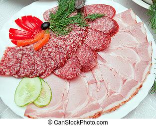 食物, いくつか, 整理, 薄く切られる, vegetables., 美しい