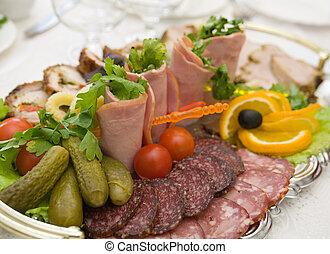 食物, いくつか, 野菜, 整理, 薄く切られる