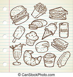 食物, いたずら書き, がらくた