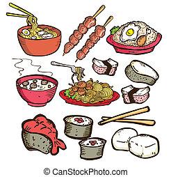 食物, いたずら書き, セット, アジア人