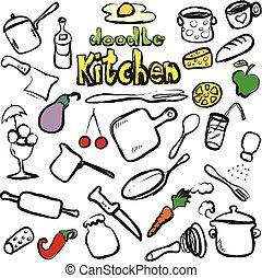 食物, いたずら書き, ベクトル, 台所, アイコン