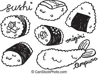 食物, いたずら書き, 日本語