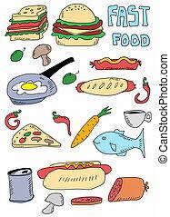 食物, いたずら書き, 背景, 手, 引かれる
