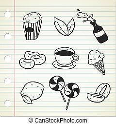 食物, いたずら書き, 飲みなさい, 様々, アイコン