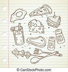 食物, いたずら書き, baverage
