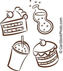 食物, いたずら書き, baverages, アイコン