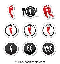 食物, こしょう, 暑い, ぴりっとする, チリ