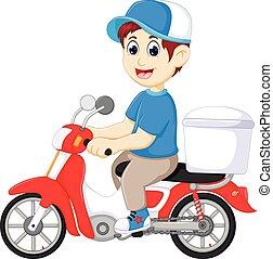 食物, の上, 配達人, オートバイ, 微笑, 漫画, ハンサム