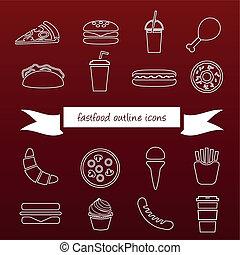 食物, アウトライン, 速い, アイコン