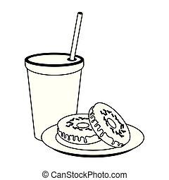 食物, アメリカ人, 白, 黒, 朝食