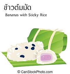 食物, アルファベット, 白, 付せん, 意味, ベクトル, 背景, タイ人, 米, バナナ
