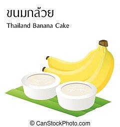 食物, アルファベット, 白, 意味, ベクトル, 背景, ケーキ, タイ人, バナナ