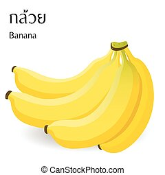 食物, アルファベット, 白, 意味, ベクトル, 背景, タイ人, バナナ
