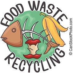 食物, イラスト, 無駄, リサイクル, アイコン