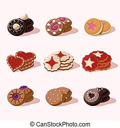 食物, クッキー, ベクトル, 漫画, アイコン