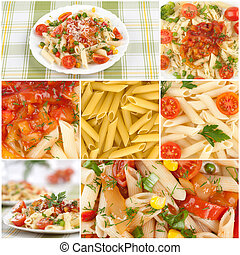 食物, コラージュ, イタリア語, パスタ。
