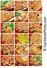食物, コラージュ, セット, ピザ