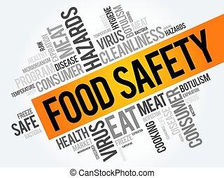 食物, コラージュ, 安全, 単語, 雲