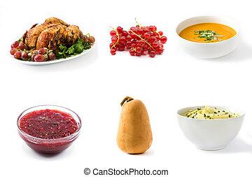 食物, コラージュ, 白, 感謝祭, 背景