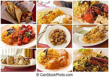 食物, コラージュ, indian
